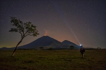 The Big Dipper and the Pacaya volcano in Guatemala