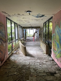 The big hall in the abandoned sanatorium over Lucarno Italian part of Switzerland Crazy view from here and a ton of crazy streetart