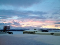 The blizzard blew away just in time for this sunrise Anchorage Alaska