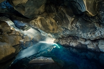The Blue Cave - the small lava cave of Grjtagj near Lake Mvatn Iceland  by Christian Biemann
