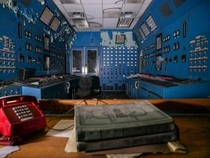 The blue control room in this power plant is really special