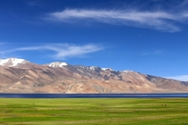 The Blue in between - Lake Tsomoriri on the border of Tibet and India at and altitude of m ft  photo by Jassi Oberai