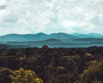 The Blue Ridge Mountains as seen from Asheville North Carolina