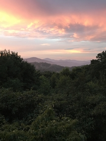 The blue ridge mountains at sunset in Boone NC