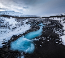 The bluest water ive ever seen Bruarfoss Iceland