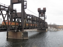 The BNSF rail lift bridge across the St Croix river between Minnesota and Wisconsin Built in