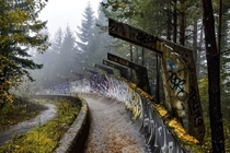 The bobsled track from the  Winter Olympics on a foggy October day in Sarajevo Bosnia amp Herzegovina OC