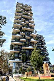 The Bosco Verticale via De Castilla a residential tower in Milan Italy