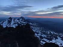 The break of dawn seen from atop South Sister