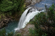 The brink of Tawhai Falls New Zealand which was used as Gollums Pool in Lord of the Rings