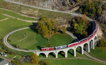 The Brusio spiral viaduct Brusio Canton of Graubnden Switzerland UNESCO World Heritage site