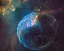 The Bubble Nebula captured by Hubble The bubble effect is caused by the stellar winds from a massive  magnitude star in the center