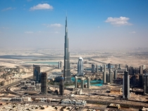The Burj Khalifa and ariel view of Dubai