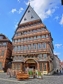 The Butchers Guild Hall in Hildesheim Germany Originally built in  the half-timbered building was destroyed during ww and then rebuilt in