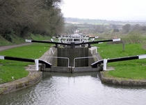 The Caen Hill locks on the Kennet and Avon Canal