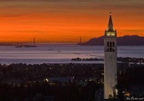 The Campanile Tower in Berkeley and the Golden Gate Bridge in the distance