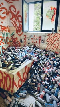 The can room in the abandoned sanatorium over Lucarno Italian part of Switzerland