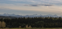The Canadian Rockies as viewed east of Calgary and South of Bragg Creek