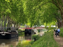 The Canal du Midi a UNESCO World Heritage Site that runs from Toulouse to the Mediterranean France