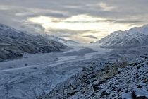 The Canwell Glacier in the Alaska Range with its first full dusting all the way to the terminus last weekend