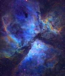 The carina nebula is  light years away from earth Its home to some extremely young and massive stars