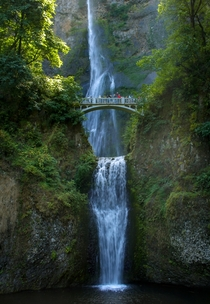 The cascading Multnomah Falls Columbia River Gorge Oregon