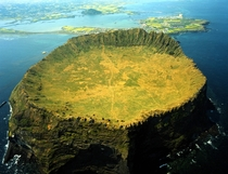 The castle-like Seongsan Ilchulbong crater on Jeju Island South Korea -