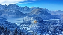 The castle of Hohenschwangau in winter Bavaria Germany