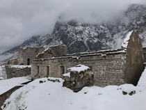 The Castle of San Giovanni blanketed in snow located in Kotor Montenegro