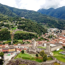 The castles of Bellinzona Switzerland Castlegande Montebello and Sasso Corbaro