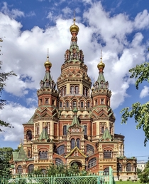 The Cathedral of Saints Peter and Paul in Petergof St Petersburg Russia Designed by Nikolai Sultanov in the Kievan style in  completed in