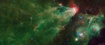 The Cave Nebula in Infrared from Spitzer