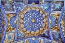 The ceiling of Aksaray mausoleum in Samarkand Uzbekistan