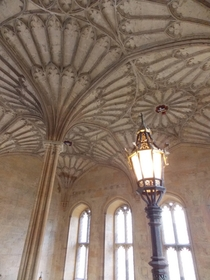 The ceiling of Bodley Tower Staircase Christ Church Oxford England