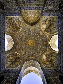 The ceiling of the Shah mosque in Isfahan Iran