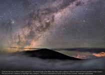 The central bulge of our Milky Way Galaxy rises above a sea of clouds in this ethereal scene An echo of the Milky Ways dark dust lanes the volcanic peak in foreground silhouette is on Frances Runion Island in the southern Indian Ocean Photo by Luc Perrot
