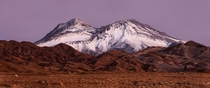 The Cerro Tumisa far into the blue hour Atacama desert Chile