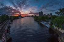 The Charles River leading into dawn in Boston