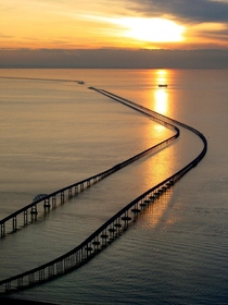 The Chesapeake Bay Bridge-Tunnel measures  miles  km amp is the worlds largest bridge-tunnel complexconsidered  of  engineering marvels of the modern world Connecting Virginia Beach VA with the Eastern Shore of VA it provides a gateway to transit on the e