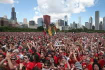 The Chicago skyline and Grant Park at the last Blackhawks rally