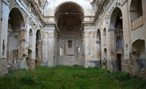 The church of the abandoned village of Bussana Vecchia Italy
