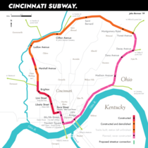 The Cincinnati subway was partially built  years ago and never ran a single train I drew a map of it