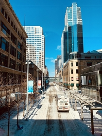 The city is empty on a bitter cold Sunday Minneapolis MN