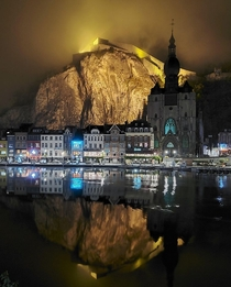 The city of Dinant in Belgium - The birthplace of saxophone inventor Adolphe Sax Perched above town is the centuries-old fortified Citadel