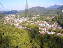 The city of Gatlinburg Tennessee seen from the  gondola on a gorgeous late summer evening