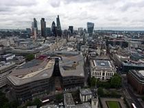 The City of London with Canary Wharf visible in the background