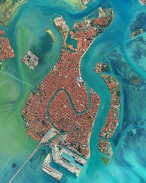 The city of Venice from above