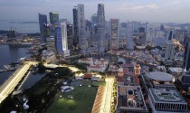 The city skyline with the Formula One Circuit in Singapore