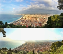 The classic Nice panorama - morning and afternoon comparison -