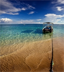 The clear waters of the Celebes Sea Mabul Island Malaysia